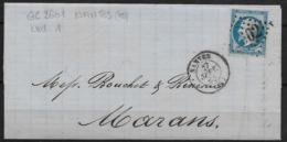 LETTRE NAPOLEON III GC 2602 (42) NANTES POUR MARANS  INDICE 1 - 1862 Napoleon III