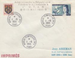 LETTRE. 11 5 55. PARIS BUREAU TEMPORAIRE N° 2. ADMISSION DE LA RFA A L'OTAN - 1921-1960: Moderne