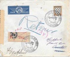 Lettre Recommandée France 1943 Pour Le Maroc Espagnol Cesure Censor Geoffnet Examiner - Guerre De 1939-45