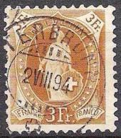 14 Vertikalzähne KZ I 1891: Zu 72A Mi 64XA Yv 80 - 3 Fr Braun Mit O LAUTERBRUNNEN 2.VIII.94 (Zu CHF 29.00) - 1882-1906 Coat Of Arms, Standing Helvetia & UPU