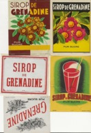 LOT DE 5 ETIQUETTES - SIROP DE GRENADINE - - Obst Und Gemüse