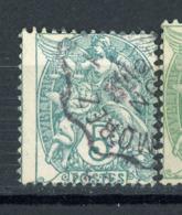 FRANCE -  TYPE BLANC - N° Yvert 111 Obli. PETIT FORMAT, OBL. CàD DES AMBULANTS & PETIT PIQUAGE À CHEVAL - 1900-29 Blanc