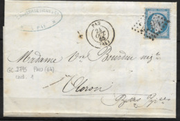 LETTRE NAPOLEON III GC 2795 (64) PAU  POUR OLORON INDICE 1 - 1862 Napoleon III