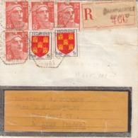 LETTRE. RECOMMANDE. 1953. JURA. CHAMPAGNOLES CP N° 15 POUR LYON. 50F - 1921-1960: Periodo Moderno