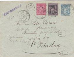 Entier 15c Sage Recommandé + N° 98 N° 103  T.P. Ob Tad Reims 29 Déc 98 Dateur Baton Entier Pour St Petersburg Russie - Postmark Collection (Covers)