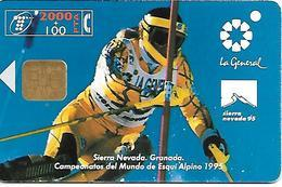 CARTE-PUCE-ESPAGNE-2000Pta-01/95-Championnat Monde De Ski Alpin 1995-Sierra Nevada-BE - Sport