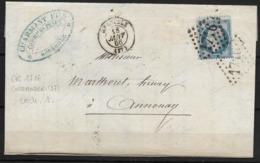 LETTRE NAPOLEON III GC 1716 (37) GRENOBLE  POUR ANNONAY INDICE 1 - 1862 Napoleon III