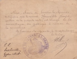 Mairie De Ferrière-la-Grande  1915 - Vecchi Documenti