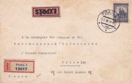 Env Recommandé Exprès T.P. Ob Tad Praha 3 VI 31, Pour Paris IXème - Tchécoslovaquie