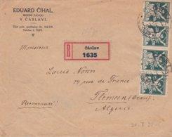 Env Recommandé  T.P. Ob Tad Caslav 20 7 22, Pour Tlemcen ( Oran ) Algérie - Czechoslovakia