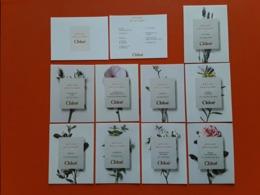 """CHLOÉ  """" ATELIER DES FLEURS   """"  10 Superbes Cartes   ( Série Complète ) .1ère Carte Photo R/V. - Perfume Cards"""