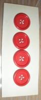 Lot  De 4 Boutons PLASTIQUE 4 TROUS  ROUGE - Other