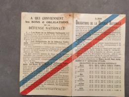 PETIT DOCUMENT BONS ET OBLIGATIONS DE LA DEFENSE NATIONALE - Other