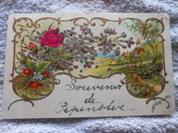Cpa  Paillettes Relief Souvenir De Pepinster - Pepinster