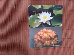 2 Phonecards Flowers Turkey Used - Turquie