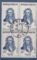 = Newton, Célébrité étrangère N°1136 Bloc De 4 Oblitéré 18f Bleu - Oblitérés