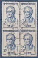 = Johann Wolfgang Von Goethe, Célébrité étrangère N°1138 Bloc De 4 Oblitéré 35f Bleu - Oblitérés
