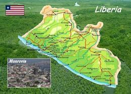 Liberia Country Map New Postcard Landkarte AK - Liberia