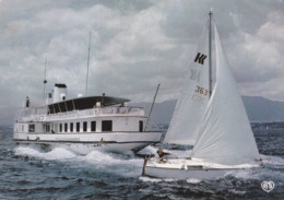 CPM Bateau De Liaison Sur Le Lac Léman Suisse France Et Voilier De Loisir En 1987 - Sailing Vessels