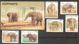 LAOS  Animals(elephants) Set 6 Stamps+S/Sheet  MNH - Stamps