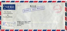 """NOUVELLES-HEBRIDES LETTRE RECOMMANDEE PAR AVION """"O.C.S."""" SERVICE DES POSTES DEPART POSTAGE PAID 28 DEC 1974 VILA........ - Leyenda Inglesa"""
