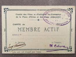 REIMS CARTE DE MEMBRE ACTIF COMITE DES FETES DE LA PLACE D'ERLON ET RUES ADJACENTES - Collections
