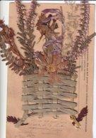 Bouquet De Véritables Fleurs Séchées  (et Vase En Osier Tressé) - Fiori