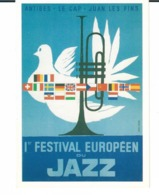 AFFICHE ANCIENNE DE JUAN LES PINS 1er FESTIVAL EUROPEEN DE JAZZ 1960 - Publicité