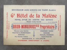 CARTE PUB GRAND HOTEL DE LA MALENE FLORAC LOZERE - Frankreich