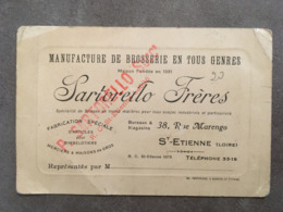 CARTE PUB MANUFACTURE DE BROSSERIE EN TOUS GENRES SARTORELLO FRERES 38 RUE MARENGO ST ETIENNE LOIRE - Frankreich