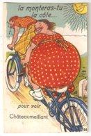 CPA Humoristique à Système 18 CHATEAUMEILLANT - Grosse Femme - Vélo Tandem - 10 Petites Vues De Chateaumeillant - Châteaumeillant