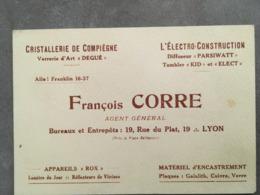 CARTE PUB FRANCOIS CORRE 19 RUE DU PLAT 19 LYON CRISTALLERIE - Frankreich