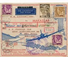 Nederlands Indië - 1937 - 4 Zegels Op LP-cover Van Soerabaja Naar Makasser En Als R-cover Naar Den Haag / Nederland - Nederlands-Indië