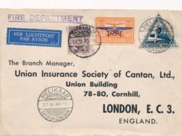 Nederlands Indië - 1933 - 3 Zegels Op LP-business Cover Van Soerabaja Per Pelikaan Naar London / UK - Nederlands-Indië