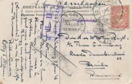 Nederlands Indië - 1916 - 5 Cent Cijfer Op Censored Ansicht Van Sabang Naar Braila / Roemenië - Nederlands-Indië