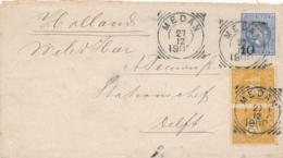 Nederlands Indië - 1900 - 10 Op 20 Cent Willem III + 2x 2,5 Cent Van VK Medan Via VK NI Postagent Penang Naar Delft - Nederlands-Indië