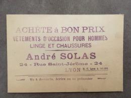 CARTE PUB ANDRE SOLAS 24 RUE SAINT JEROME LYON  ACHETE VETEMENTS D'OCCASION - Frankreich