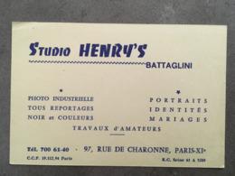 CARTE PUB STUDIO HENRY'S BATTAGLINI 97 RUE DE CHARONNE - Frankreich