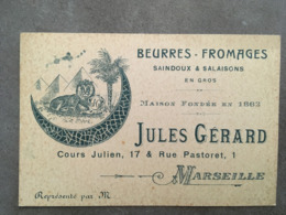 CARTE PUB BEURRESFROMAGES JULES GERARD COURS JULIEN 17 ET RUE PASTORET 1 MARSEILLE - Frankreich