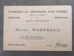 CARTE PUB FABRIQUE DE CHAPEAUX POUR DAMES MICHEL MARFELA 59 RUE SAINTE ANNE PARIS - Frankreich