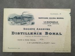 CARTE PUB DISTILLERIE BONAL GENTIANE QUINA BONAL ST LAURENT DU PONT ISERE - Frankreich