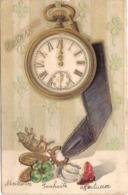 CPA Carte Gauffrée Bonne Année Horloge - Nouvel An