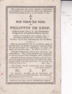 OETINGHEN OETINGEN Philippe DE KNOP Veuf DE DOBBELEER époux BARBE 1811-1887 Dp - Décès