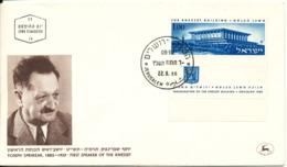 Israel FDC Jerusalem 22-6-1966 Yoseph Sprinzak First Speaker Of The Knesset With Cachet - FDC