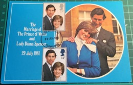 The Marriage Of The Prince Of Wales And Lady Diana Spencer 29th July 1981 With First Day Issue Postmarked Stamps - Familias Reales