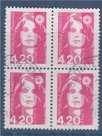 = Marianne De Briat Dite Du Bicentenaire N°2770 Bloc De 4 Oblitéré 4f20 Rose - 1989-96 Marianne (Zweihunderjahrfeier)
