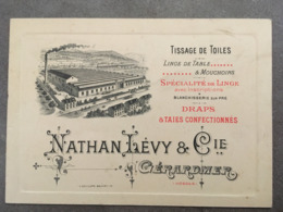 CARTE PUB NATHAN LEVY TISSAGE DE TOILES GERARDMER - Autres