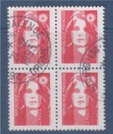 = Marianne De Briat Dite Du Bicentenaire N°2806 Bloc De 4 Oblitéré Sans Valeur (dit TVP) Rouge - 1989-96 Marianne (Zweihunderjahrfeier)