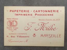 CARTE PUB PAPETERIE CARTONNERIE IMPRIMERIE PHOCEENNE  F.MILHE 9 RUE VILLENEUVE MARSEILLE - Frankreich