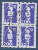 = Marianne De Briat Dite Du Bicentenaire N°2906 Bloc De 4 Oblitéré 2f Bleu - 1989-96 Marianne (Zweihunderjahrfeier)